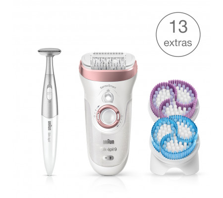 Braun Silk-épil 9 SkinSpa SensoSmart™ 9/980 Wet & Dry epilator with 13 extras incl. Silk-épil 3in1 trimmer.